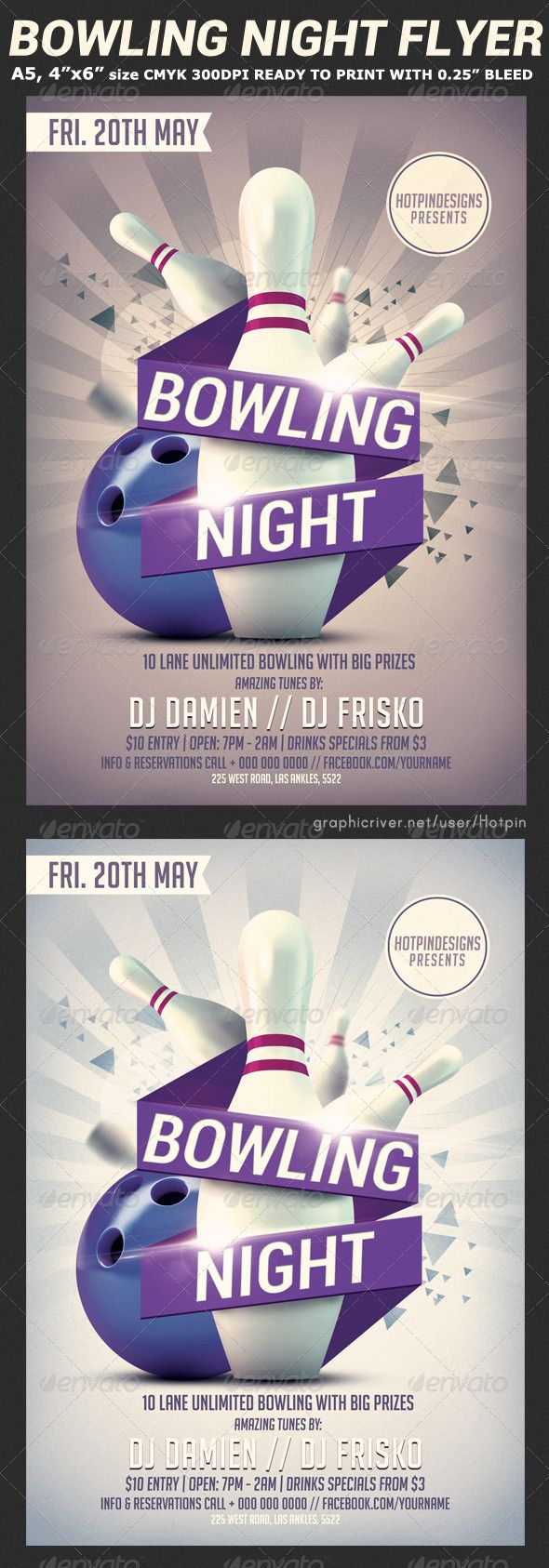 Bowling Nights Flyer Template V  Flyer Template Template And