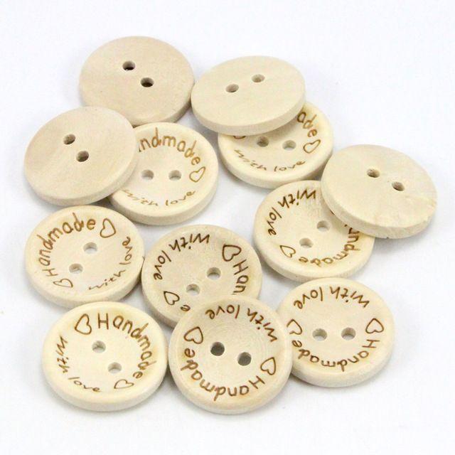 Hecho a mano con amor Madera Natural botones redondos con 2 agujeros