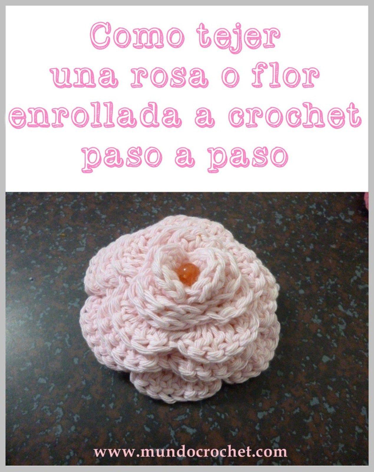 Como tejer una rosa o flor enrollada crochet o ganchillo paso a paso ...