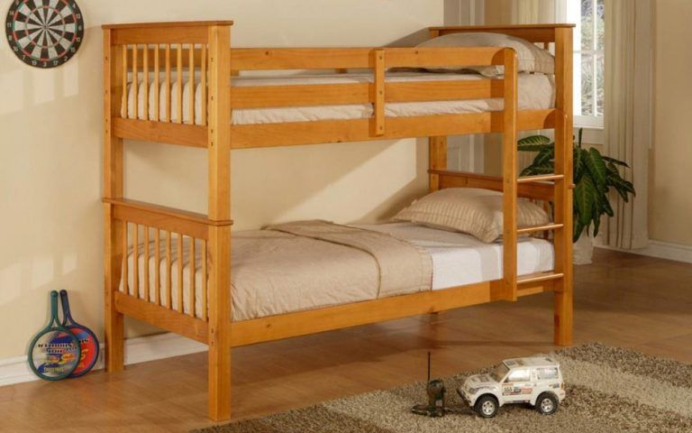 Wooden Bunk Beds With Mattresses Elan Pavo Pine Wooden Bunk Bed In
