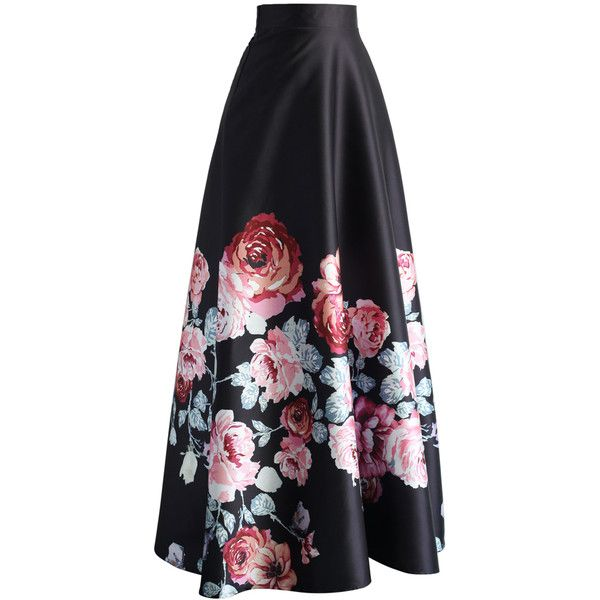 36af9da1a Chicwish Endless Blooming Rose Maxi Skirt ($49) ❤ liked on Polyvore  featuring skirts, floral print skirt, floor length skirts, floral skirt, long  pleated ...