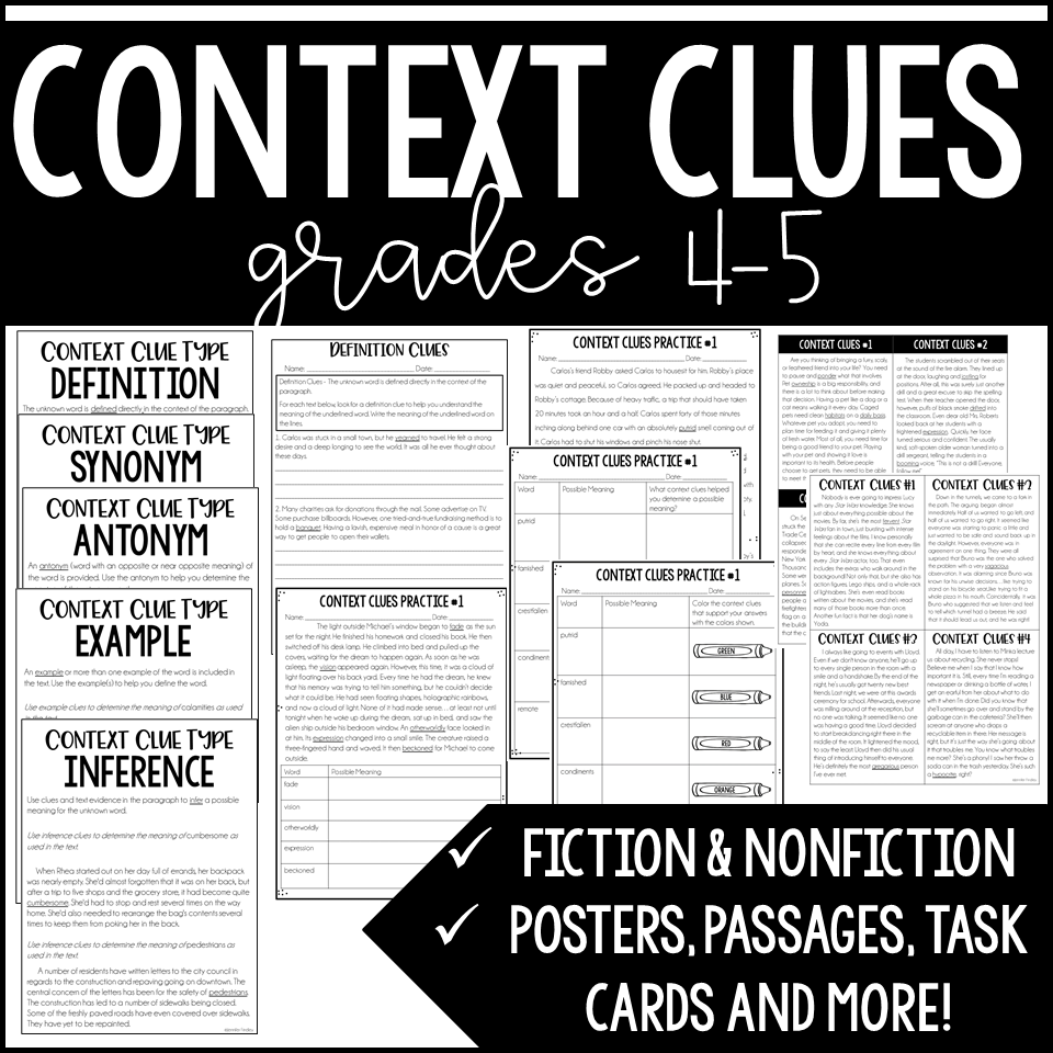 Free Context Clues Activity For Grades 4 5 Teaching With Jennifer Findley Context Clues Activities Context Clues Context Clues Passages [ 960 x 960 Pixel ]