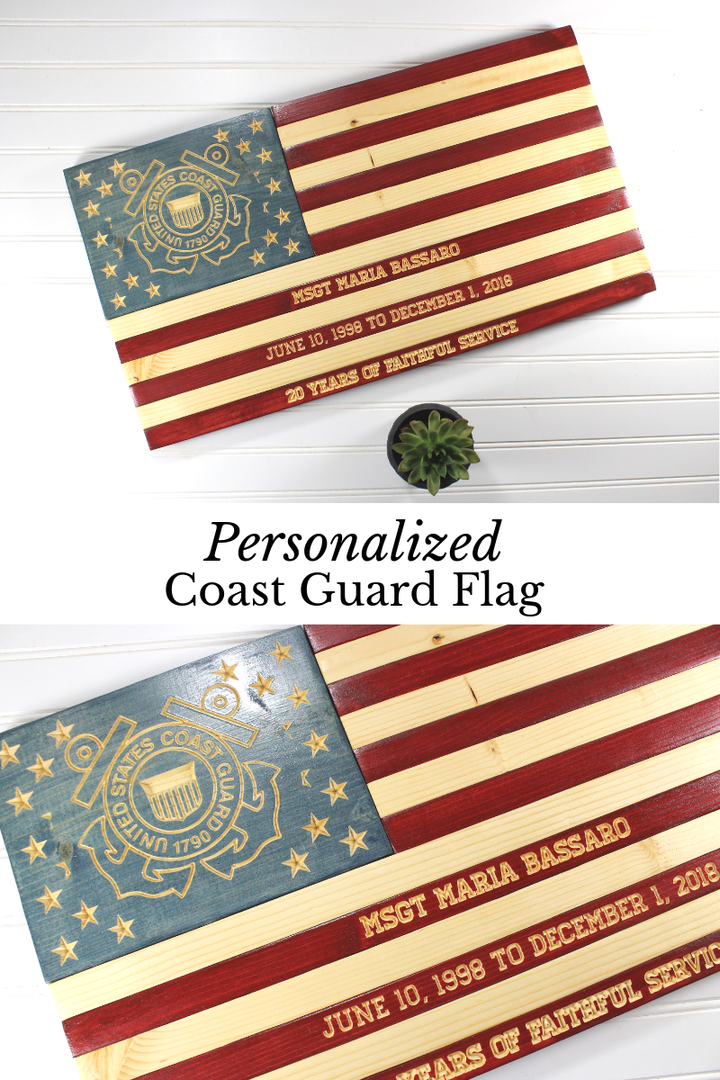Coast Guard Flag, Rustic Wooden American Flag, Military