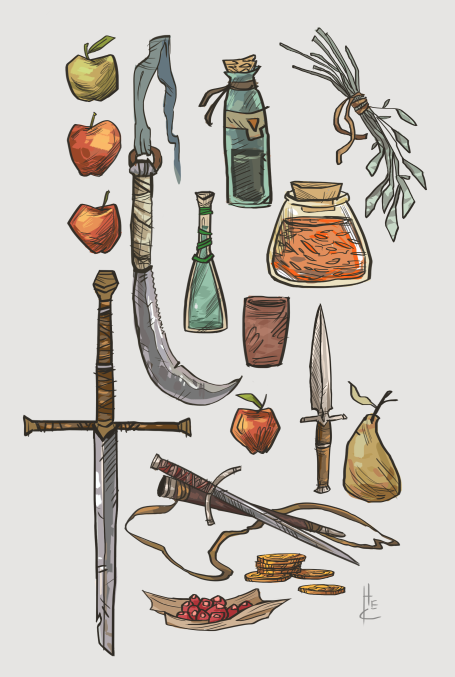 Item Sketches by Nafah sword dagger knife potion of healing poison spices pear apple cup gold fruit equipment gear magic item | Create your own roleplaying game material w/ RPG Bard: www.rpgbard.com | Writing inspiration for Dungeons and Dragons DND D&D Pathfinder PFRPG Warhammer 40k Star Wars Shadowrun Call of Cthulhu Lord of the Rings LoTR + d20 fantasy science fiction scifi horror design | Not Trusty Sword art: click artwork for source