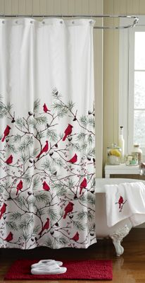 Holiday Cardinal Bird Evergreen Bathroom Shower Curtain