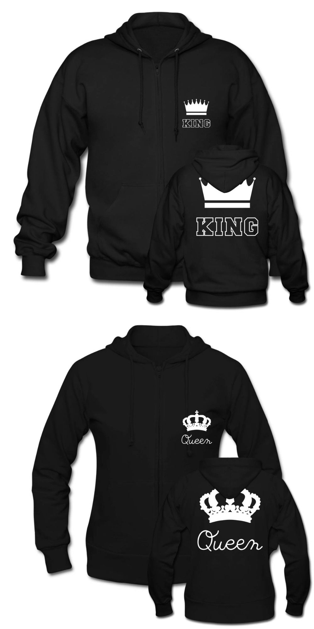 Cute Matching Couple Zip Hoodie Unisex King and Queen For Mens Womens  Cotton Sweatshirts Harajuku Hoodies · Couples AssortisCapuche ZippéHarajukuSweats  À ...