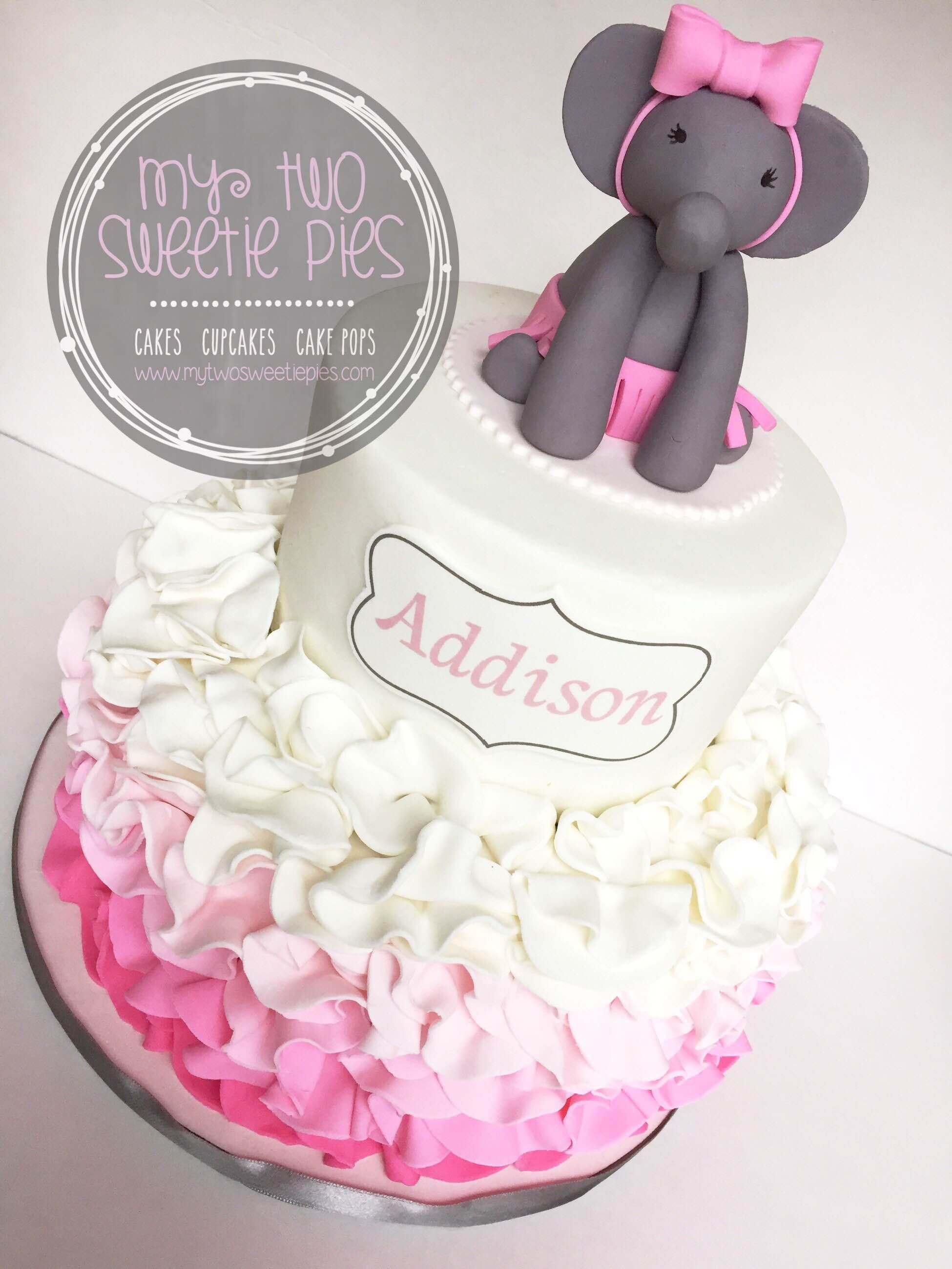 Pink And Grey Elephant Baby Shower Cakes Elephant Baby Shower
