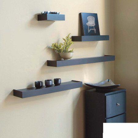 Kiera Grace Vertigo Set Of 4 Espresso Wall Shelves 6 12 20 24 Ikea Wall Shelves Black Wall Shelves Wall Shelf Decor