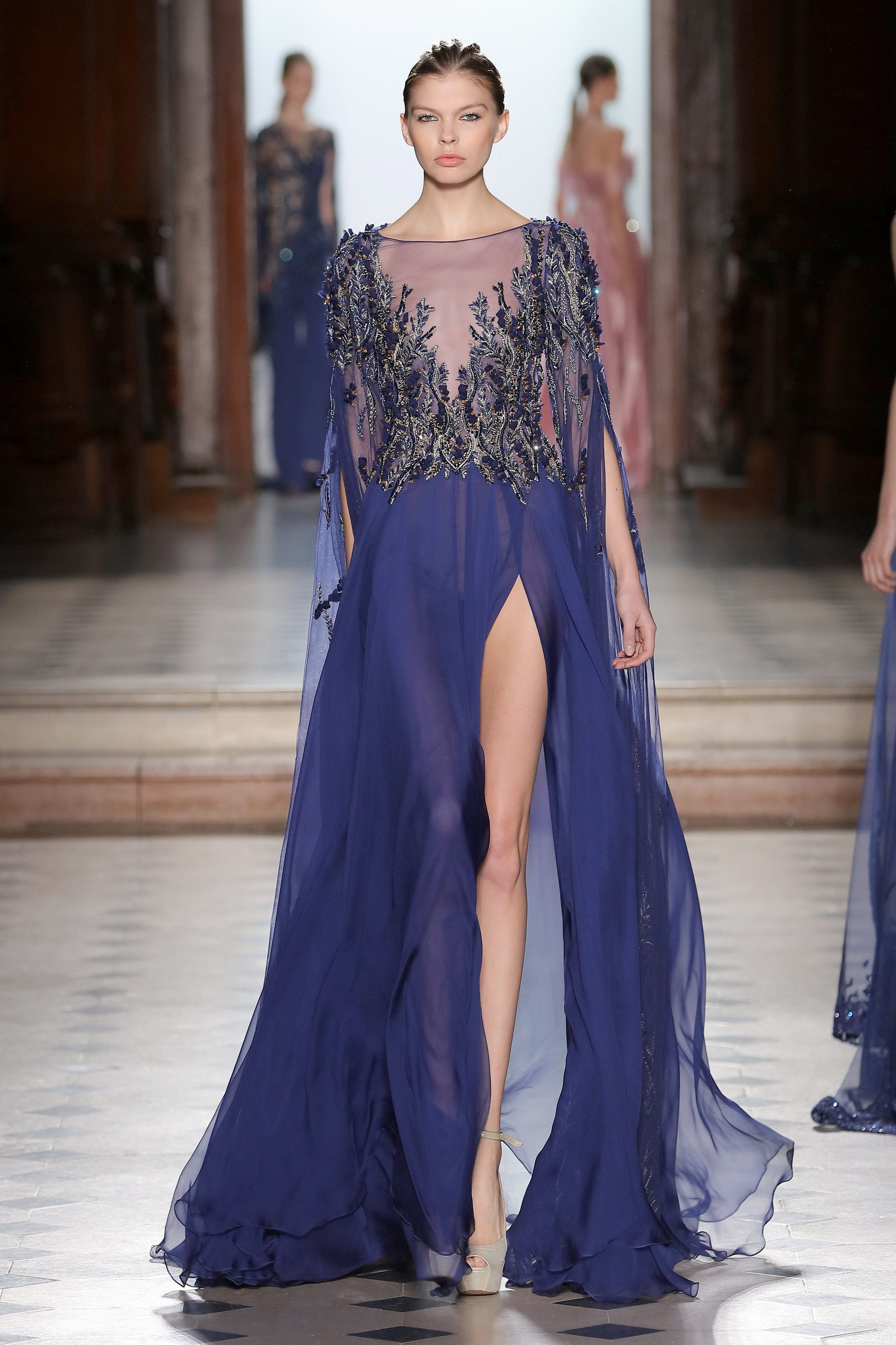 76278f8fb87 Tony Ward Couture I Spring Summer 2018 I Navy blue chiffon dress with sheer  3D embroidered neckline