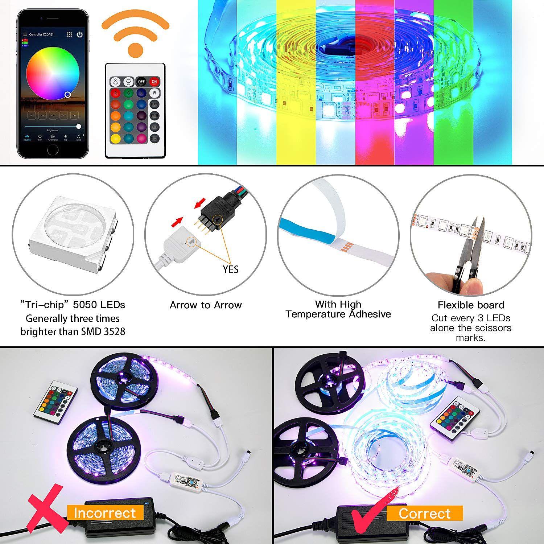 LED Strip Lights 32.8ft Color Changing Full Kit with Remote PANGTON VILLA