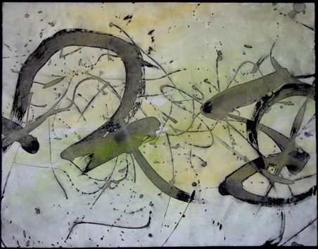 Yukimi annand conversation watercolor and sumi on Yukimi annand calligraphy