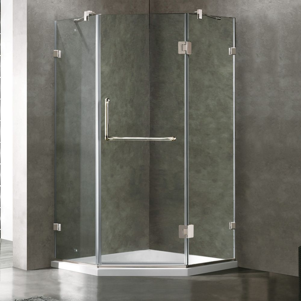 Clear and Chrome Frameless Neo-Angle Shower Enclosure with Low ...