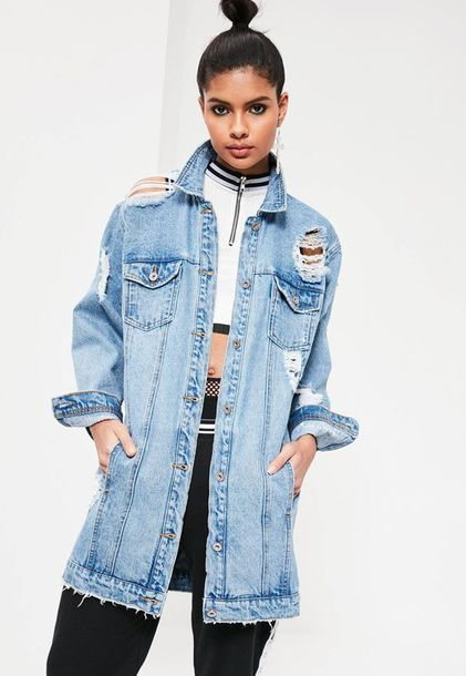 cheaper sale shopping new style $81 Missguided Light Wash Light Blue Oversized Ripped Frayed ...