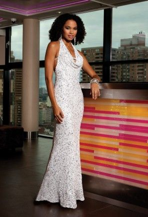 White Dresses - Sequin Rhinestone Halter Prom Dress from Camille La ...