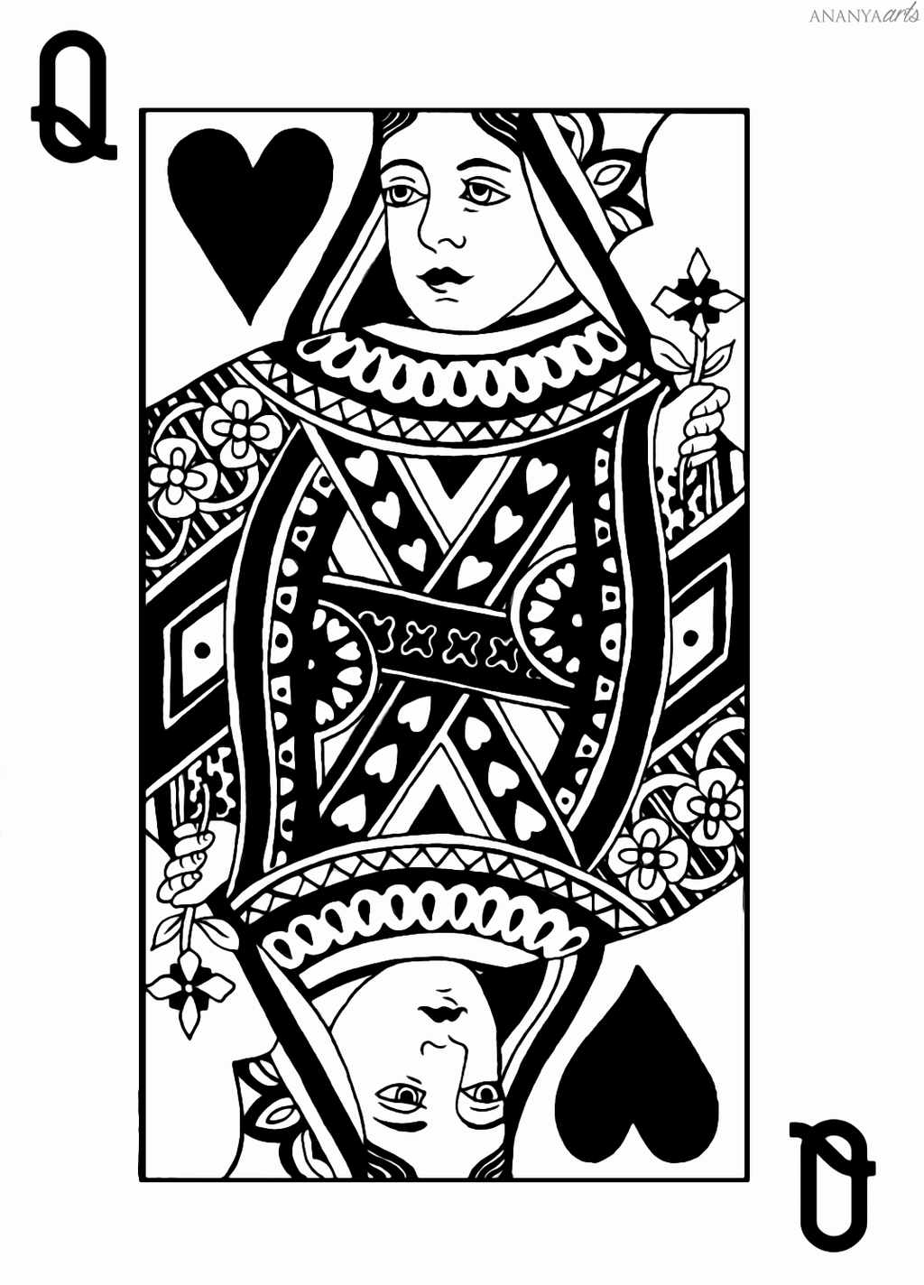 Queen Of Hearts Bw By Ananyaarts On Deviantart Queen Of Hearts Tattoo Queen Of Hearts Card Queen Of Hearts