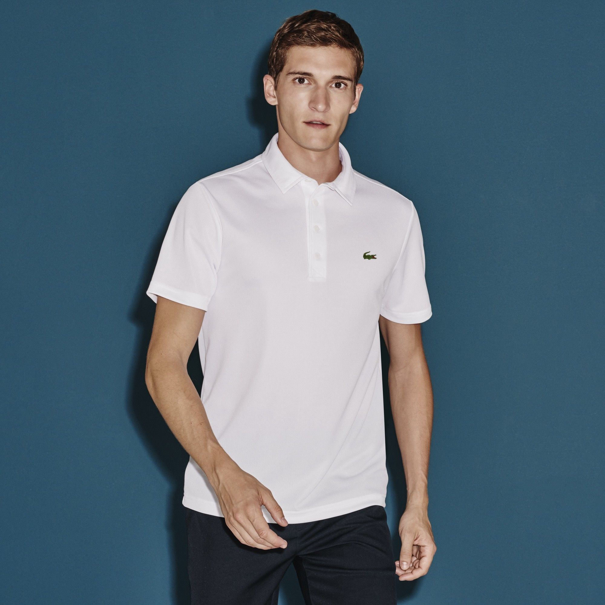 LACOSTE Men\u0027s SPORT Regular Fit Ultra Dry Textured Golf Polo Shirt - white.  #lacoste