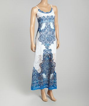 This White & Royal Blue Crochet Scarf Print Maxi Dress by STILLETTO'S is perfect! #zulilyfinds