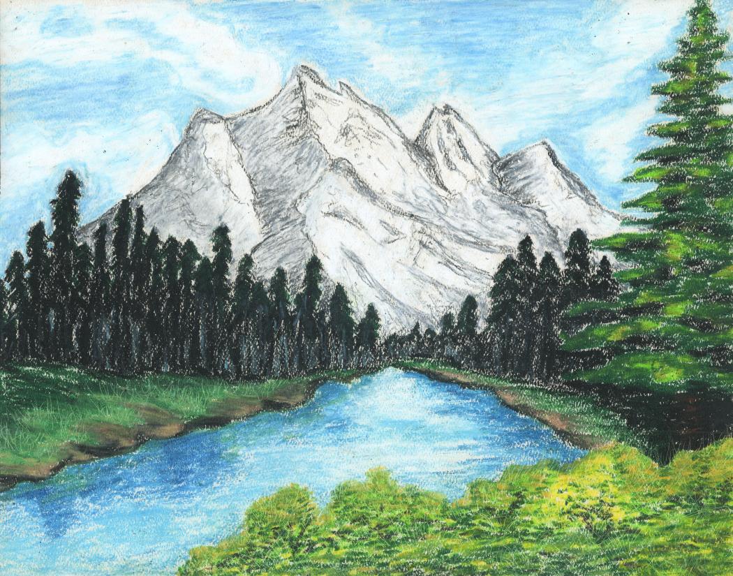 2014 Oil Pastel By Sophomore Alyssa K Mountain Scene