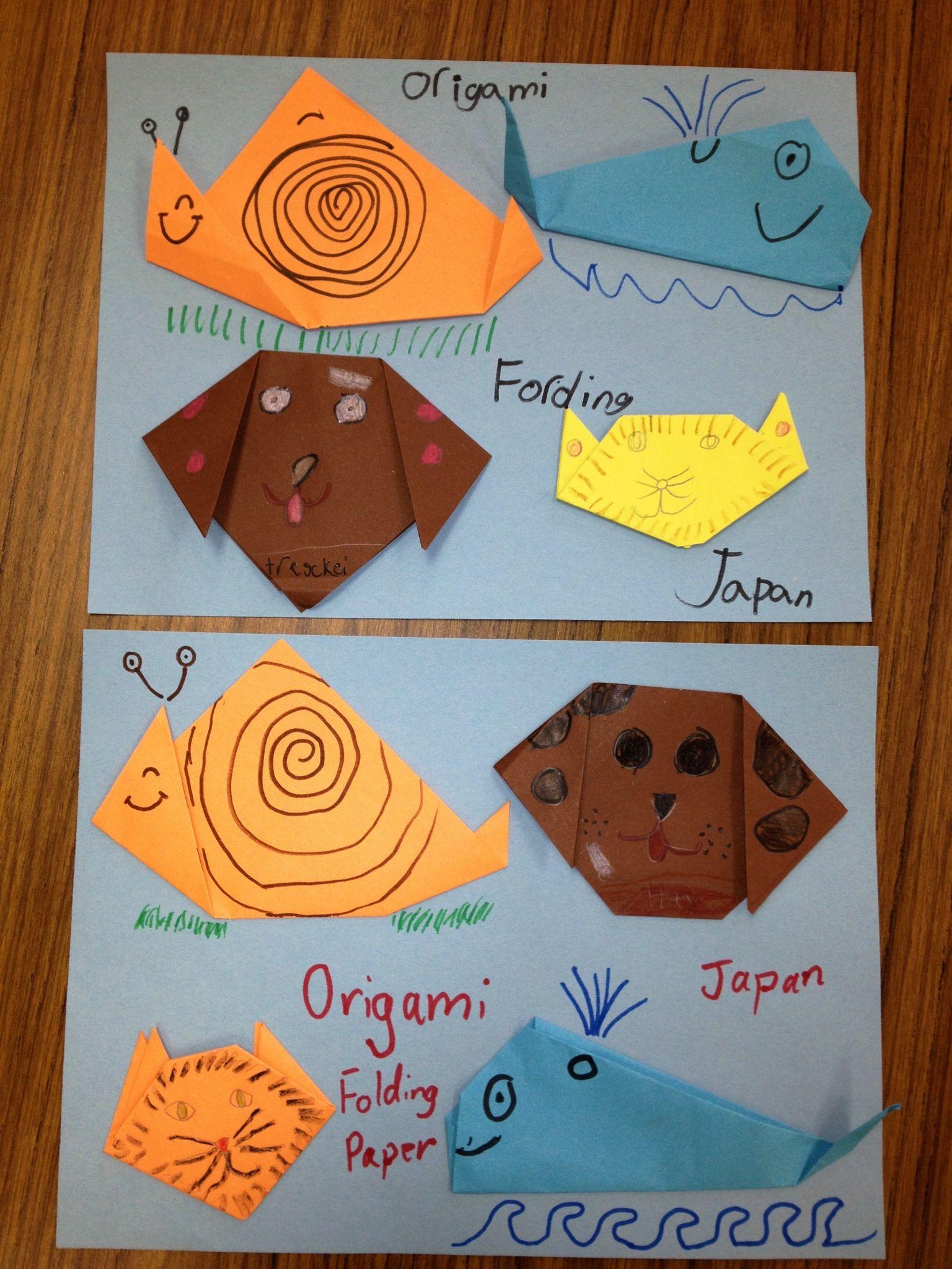 Origami Animals Elementary Art Dog Cat Snail Whale Art Teacher