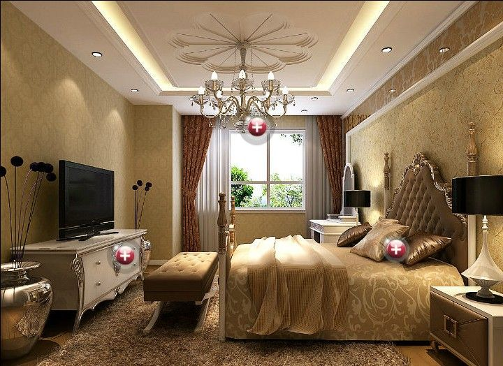 Clic Interior Design Wallpapers Fine Plaster Ceiling For European Style Bedroom