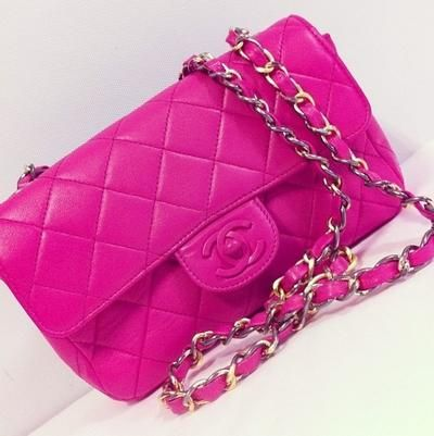 Hot Pink Mini Quilted Chanel Bag Lollipuff