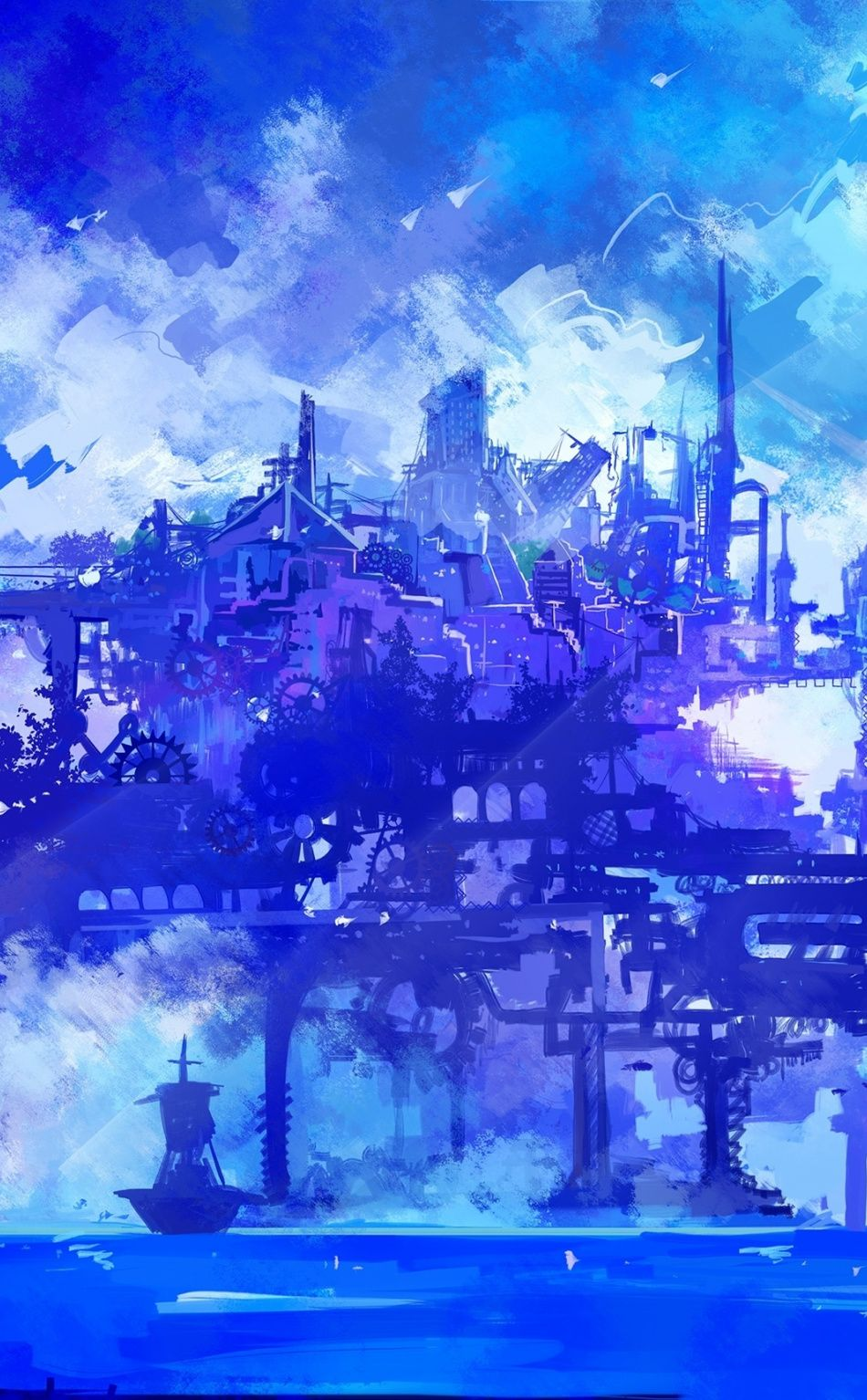 Cyber City Anime Cyberpunk Artwork 950x1534 Wallpaper Cyber City Anime Blue Wallpaper Cyber Anime fantasy mobile wallpapers
