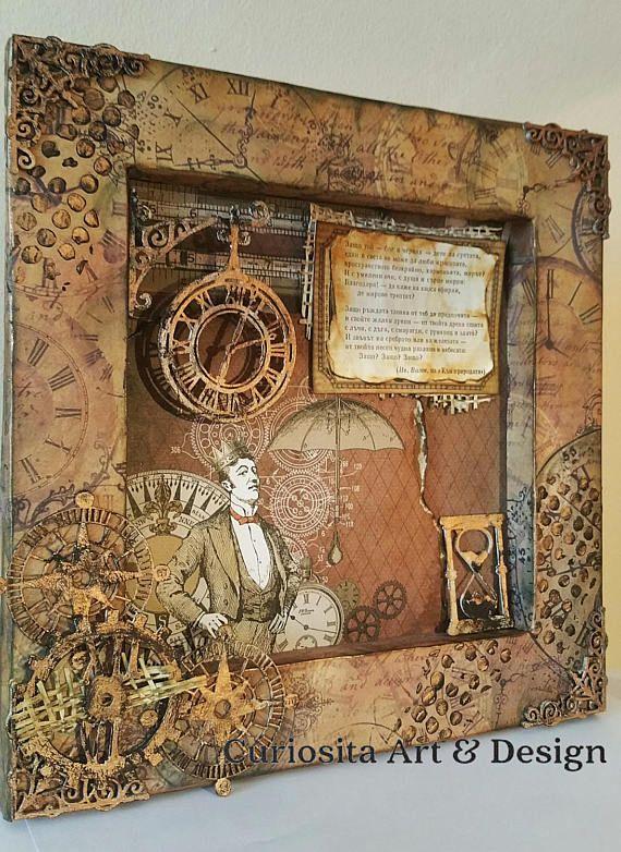 Mixed Media Shadow Box The Mechanic Mаn Art Piece   Mixed ...