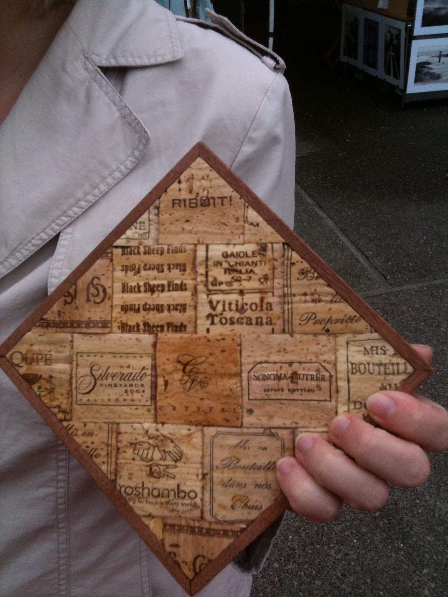 Used wine corks for crafts - 100 Hand Crafted In San Francisco Ca From Real Natural Wine Corks Mahogany Wood