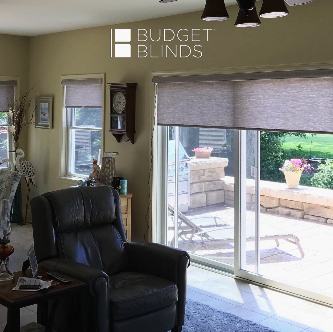 Remote Controlled Motorized Roller Shades Throughout This Family Room They Look Great On The Windows Patio Doors Patio Doors Budget Blinds Patio Door Shades