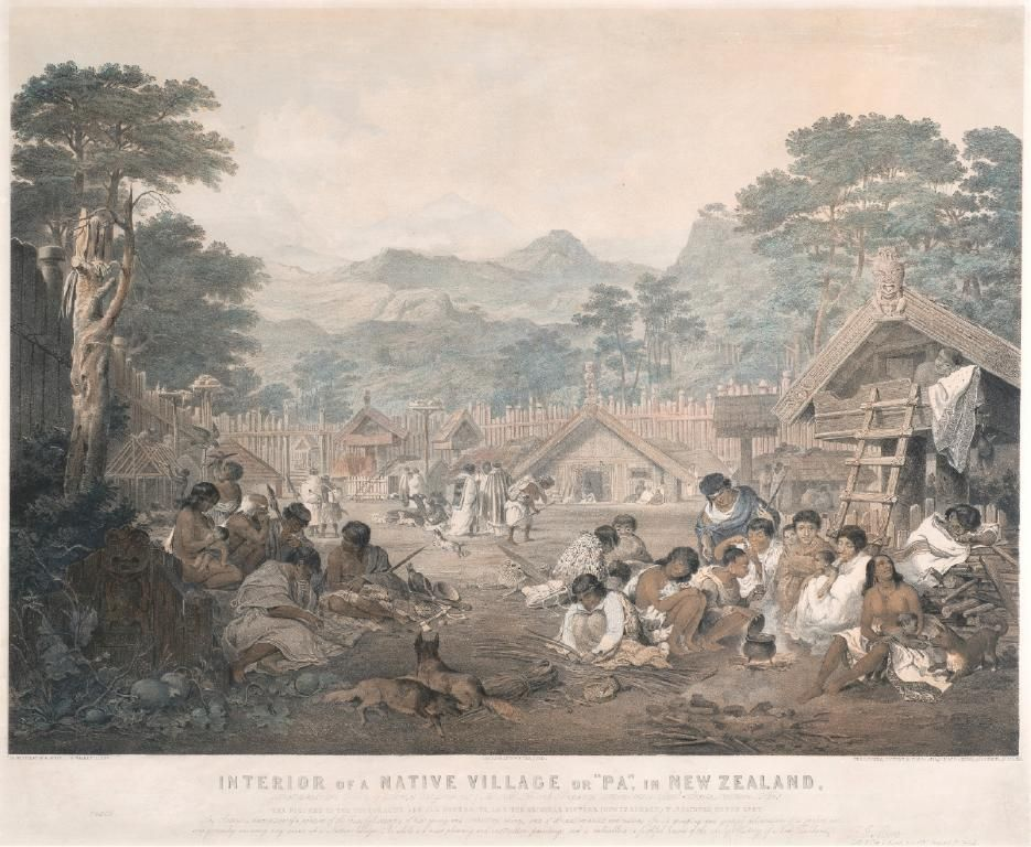 Interior Of A Native Village Or Pa In New Zealand By Edmund Walker