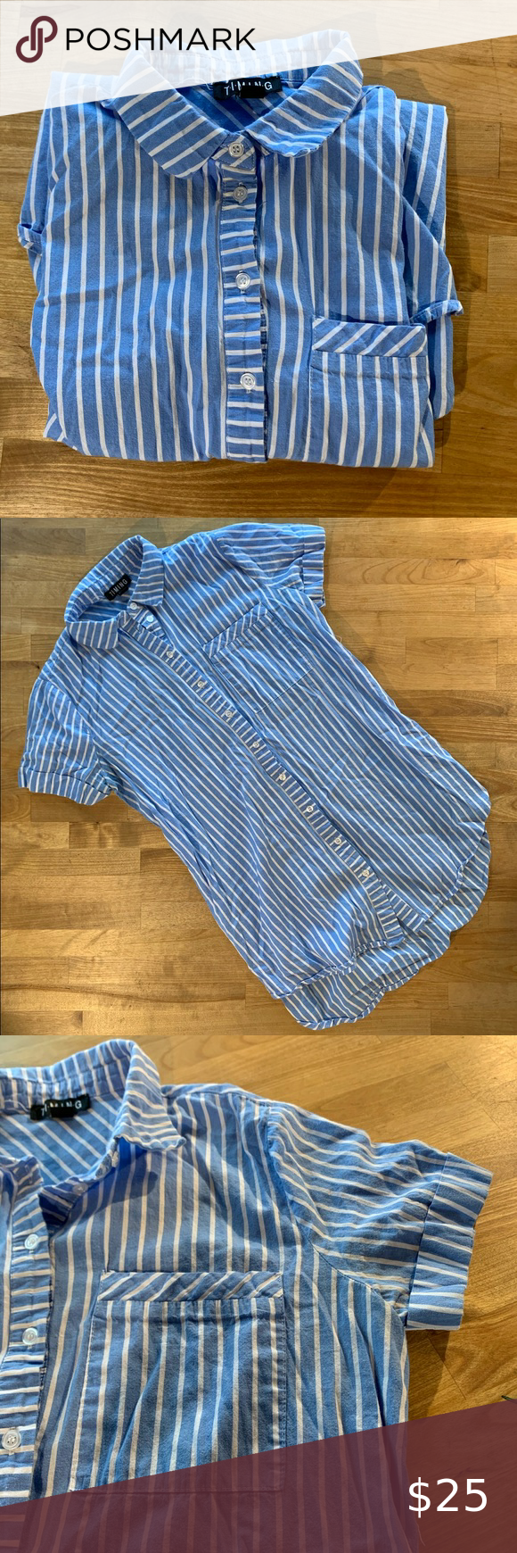 Blue and white striped women's collared button up Blue and white horizontal st...