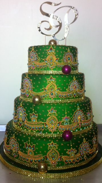 Henna inspired cake by Creme Delicious adorned with Bedazzle My Bonbons!