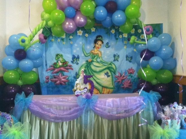 Princess Tiana Children S Birthday Party Created By One Stop Party Store In Providence Princess Tiana Party Princess Tiana Birthday Party Frog Birthday Party
