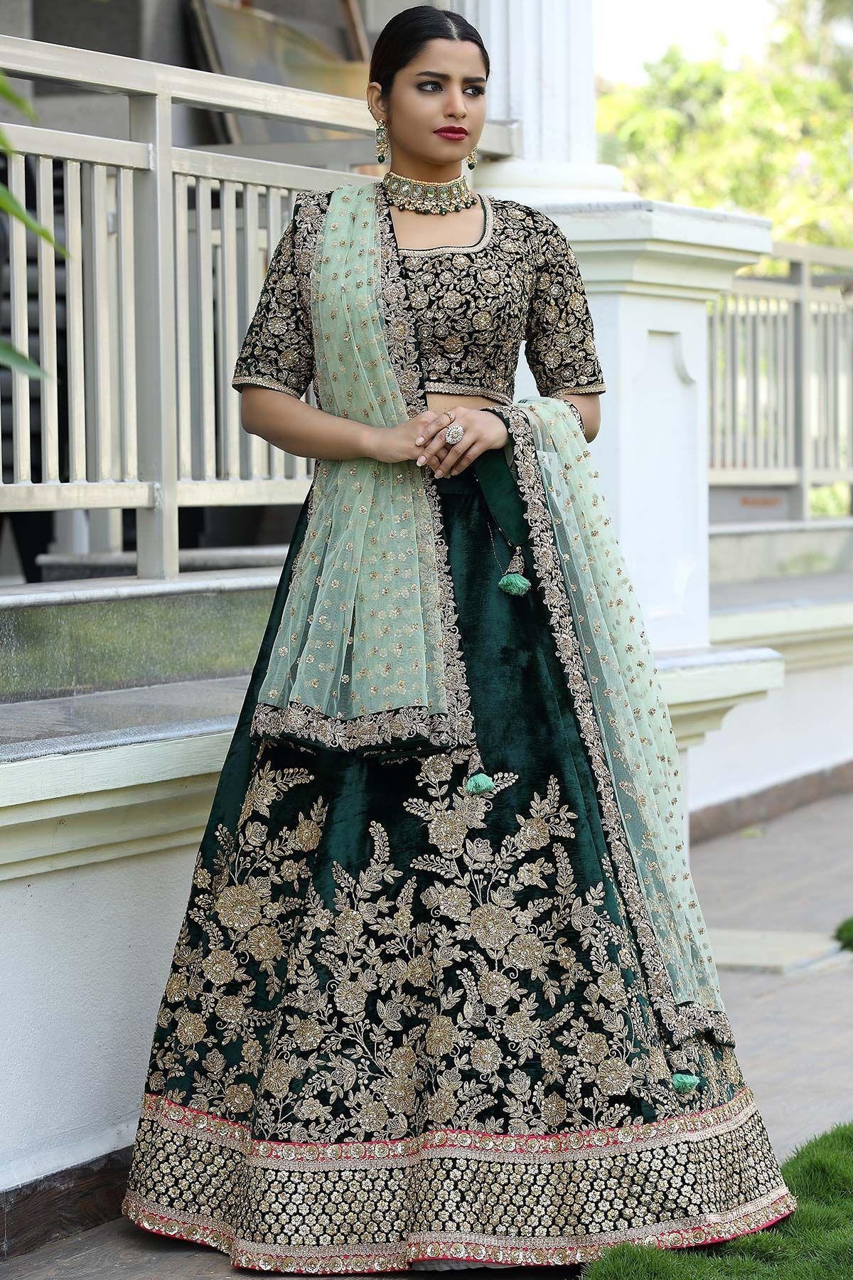 Buy Emerald Green Velvet Zari Embroidered Bridal Lehenga Online | Indian  bridal dress, Bridal lehenga, Bridal lehenga online