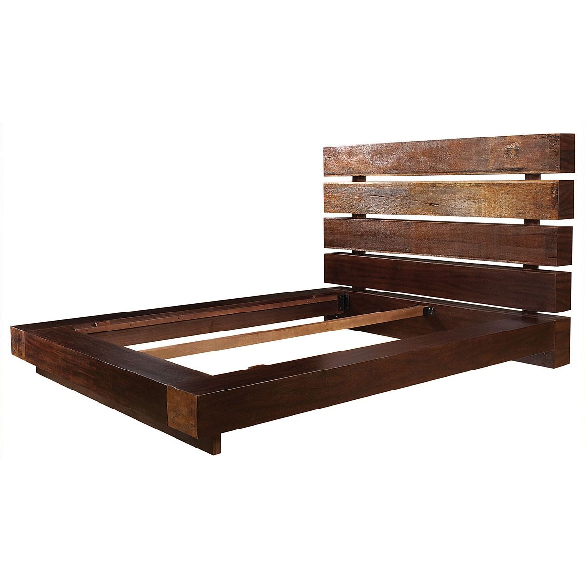buy iggy queen bed at zin home reclaimed wood beam platform beds our eclectic iggy queen platform bed frame is handcrafted from exotic demolition