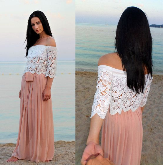 Get this look: http://lb.nu/look/7757146  More looks by Anna Maria: http://lb.nu/lookdujour  Items in this look:  Sheinside White Boat Neck Hollow Lace Crop Blouse, Sheinside Pink Elastic Waist Drawstring Pleated Chiffon Skirt   #bohemian #chic #romantic #maxiskirt #skirt #croptop #crochet #lace #beach