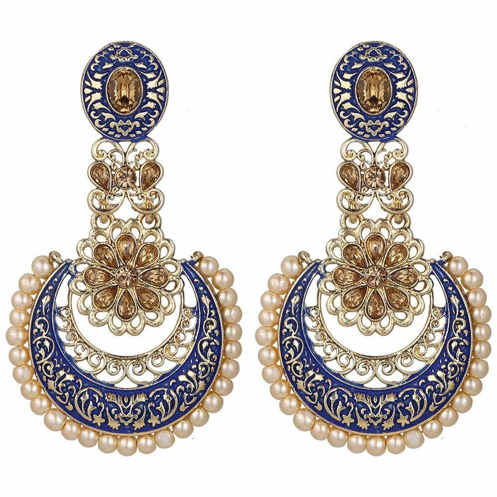 Efulgenz Indian Bollywood Crystal Rhinestone Faux Pearl Gold Plated Peacock Dangle Bridal Wedding Chandbali Earring Set Jewelry