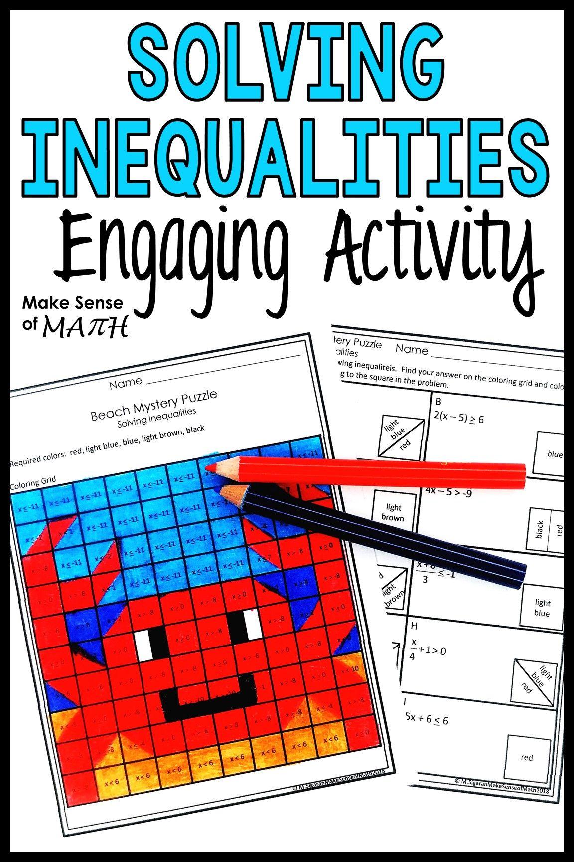 Solving Inequalities Activity In