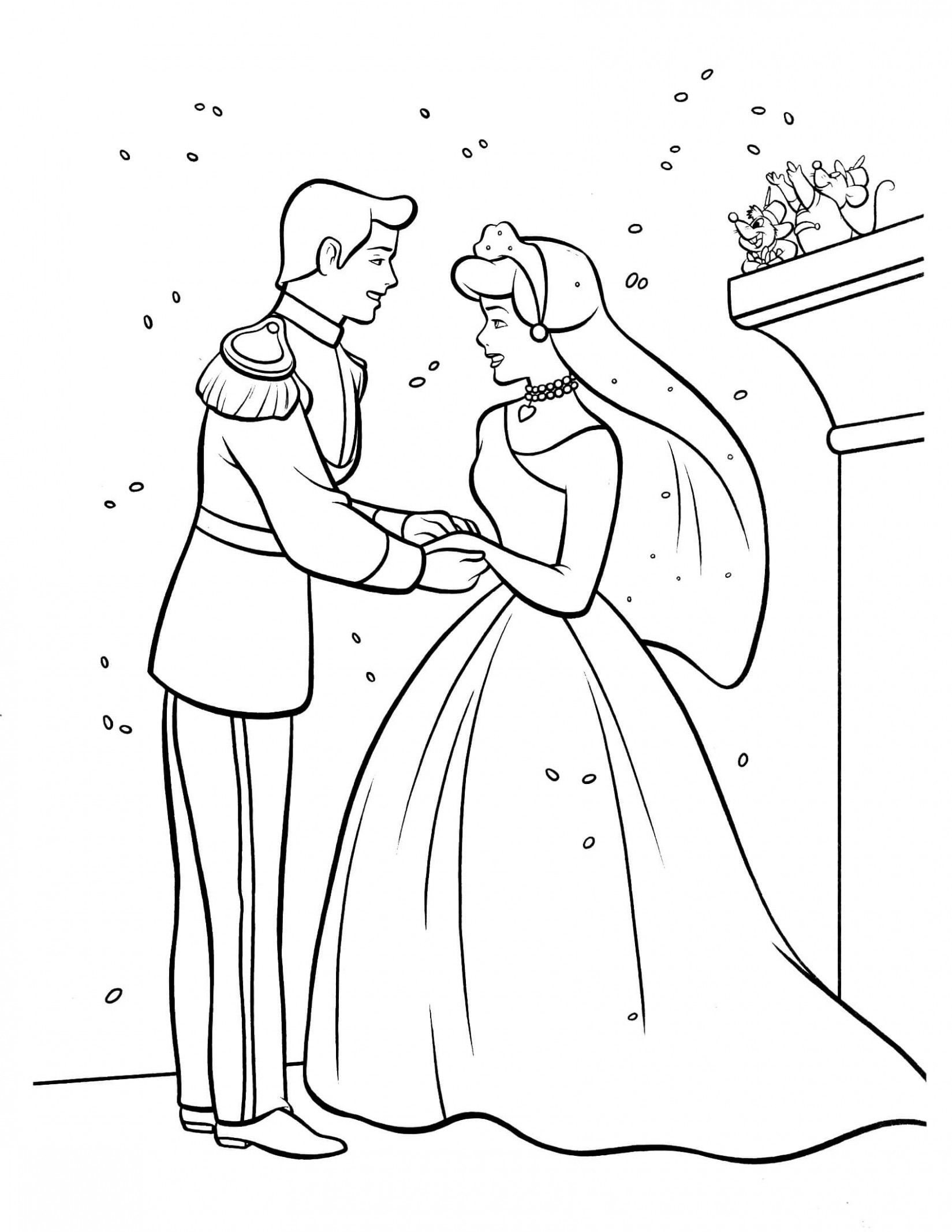 Disney Wedding Drawing Coloring Pages Cinderella Coloring Pages Wedding Coloring Pages Descendants Coloring Pages