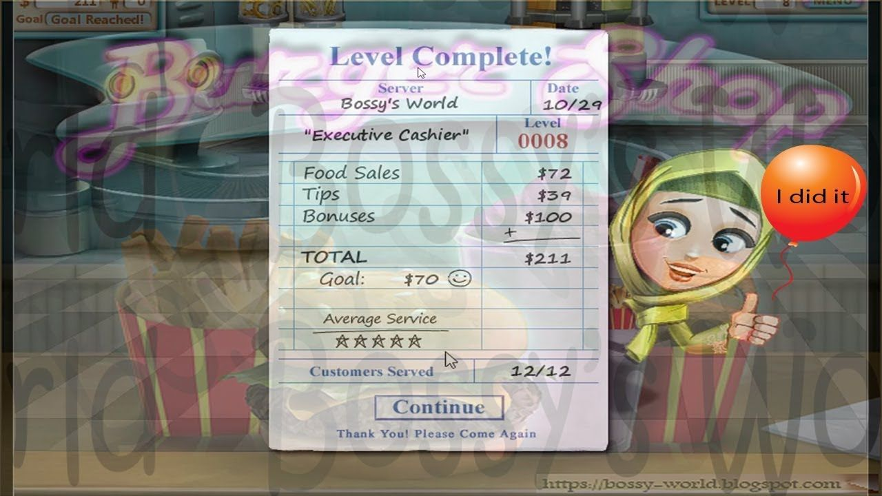 Burger Shop level 8 walkthrough five stars Fun games for