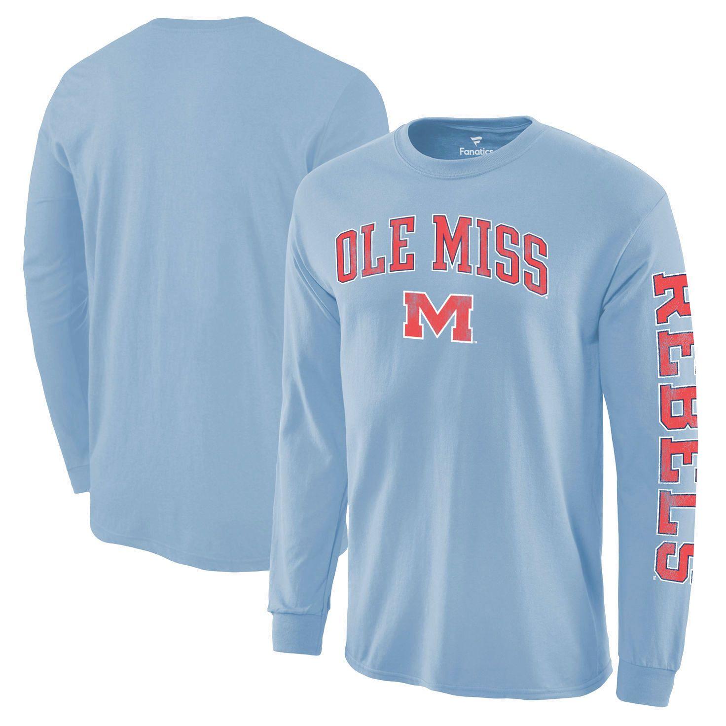 Ole Miss Rebels Distressed Arch Over Logo Long Sleeve Hit T Shirt Light Blue 19 99 North Carolina Tar Heels Unc Apparel Long Sleeve Tshirt Men