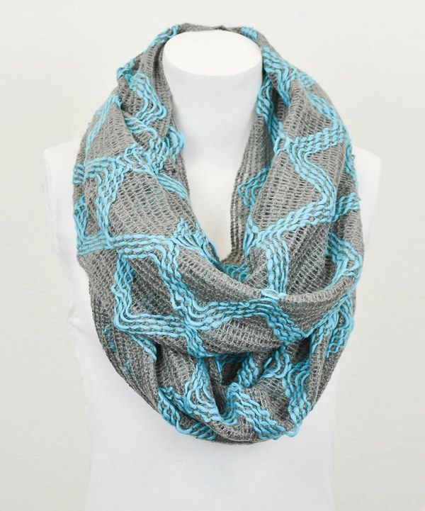 Look at this #zulilyfind! Leto Collection Turquoise & Smoke Diamond Infinity Scarf by Leto Collection #zulilyfinds