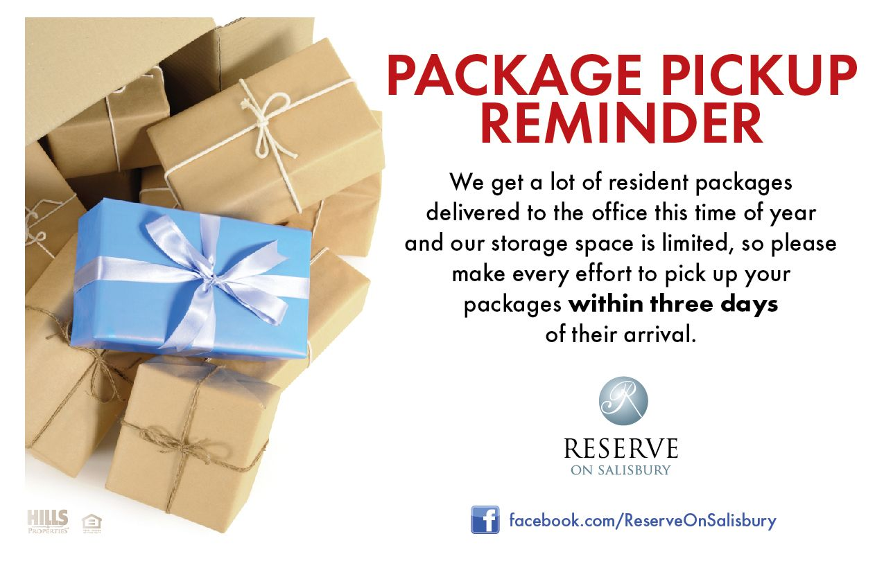 ROS put out a package pickup reminder for their residents