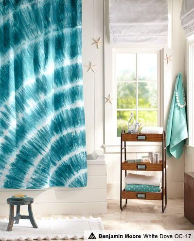 Pottery barn teen beach decor pool tie dye bathroom love the shower curtain