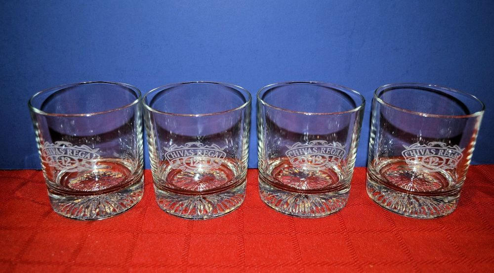 Attractive Set Of 4 Chivas Regal 12 Whiskey Etched Glass   On The Rocks Glasses