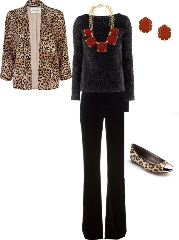 """Black and Animal Print Jacket"" by lynn-4 on Polyvore"