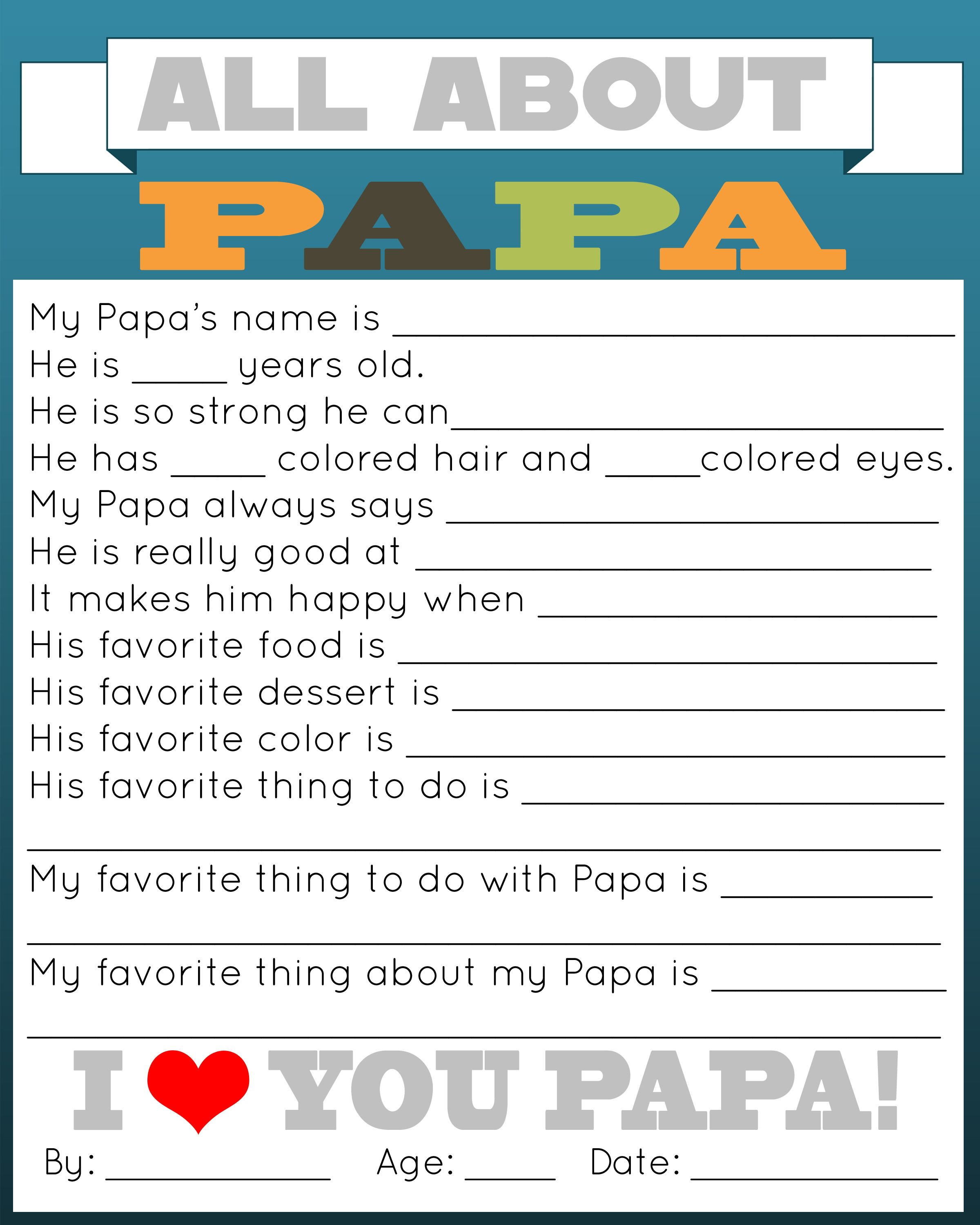 image regarding All About My Papa Printable called All Concerning Daddy Printable Daddys Working day! Grandpa birthday