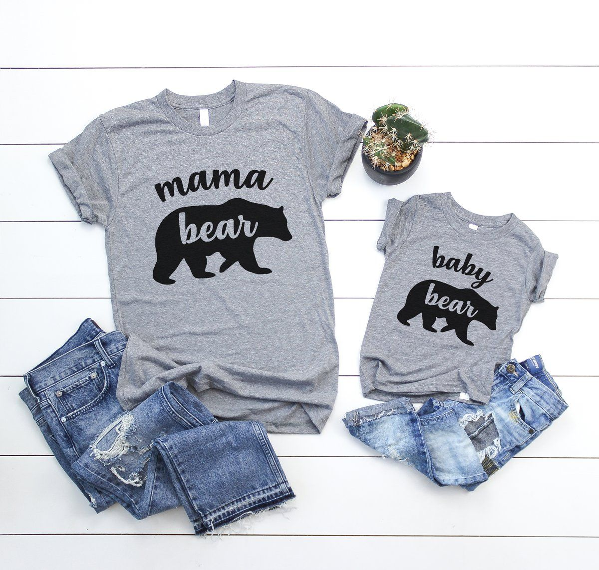 9f38a643 Set of 2 - Mama Bear Baby Bear cub Matching Mommy and Me Family ...