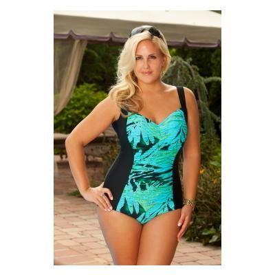 Women's Plus Size Swimsuits - Carol Wior Night of the Iguana Underwire Shirred 1 Pc Style
