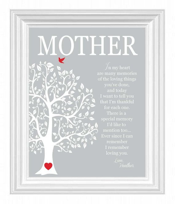 Personalised Heart Word Art Print Mothers Day Mum Daughter Love Wedding
